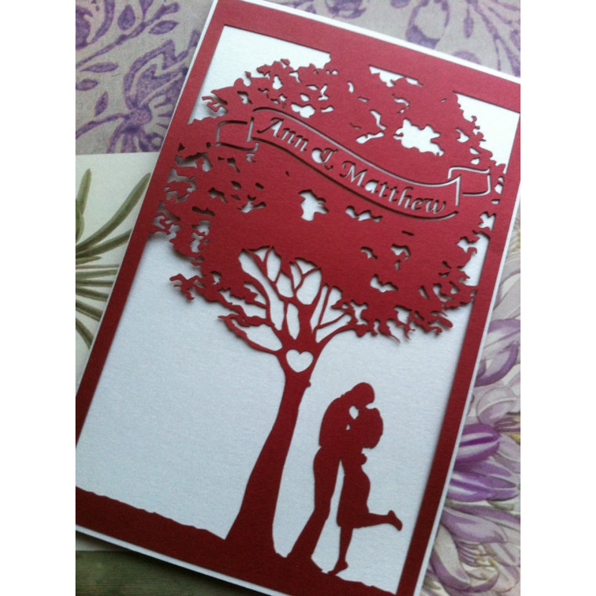 Love Story Tree Wedding Invitation Laser Cut Invitations